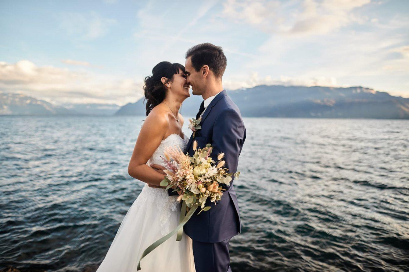 Photos des mariés au bord du lac Léman